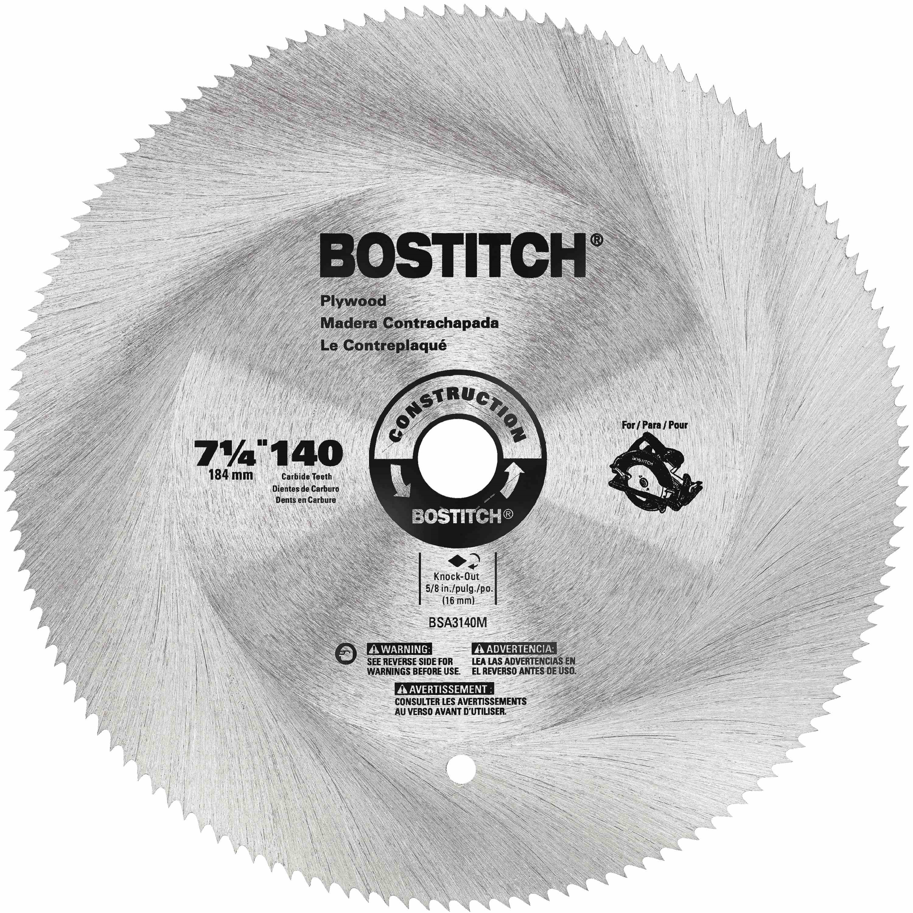 Bostitch - 7 14 140T Hollow Ground Plywood Blade - BSA3140M