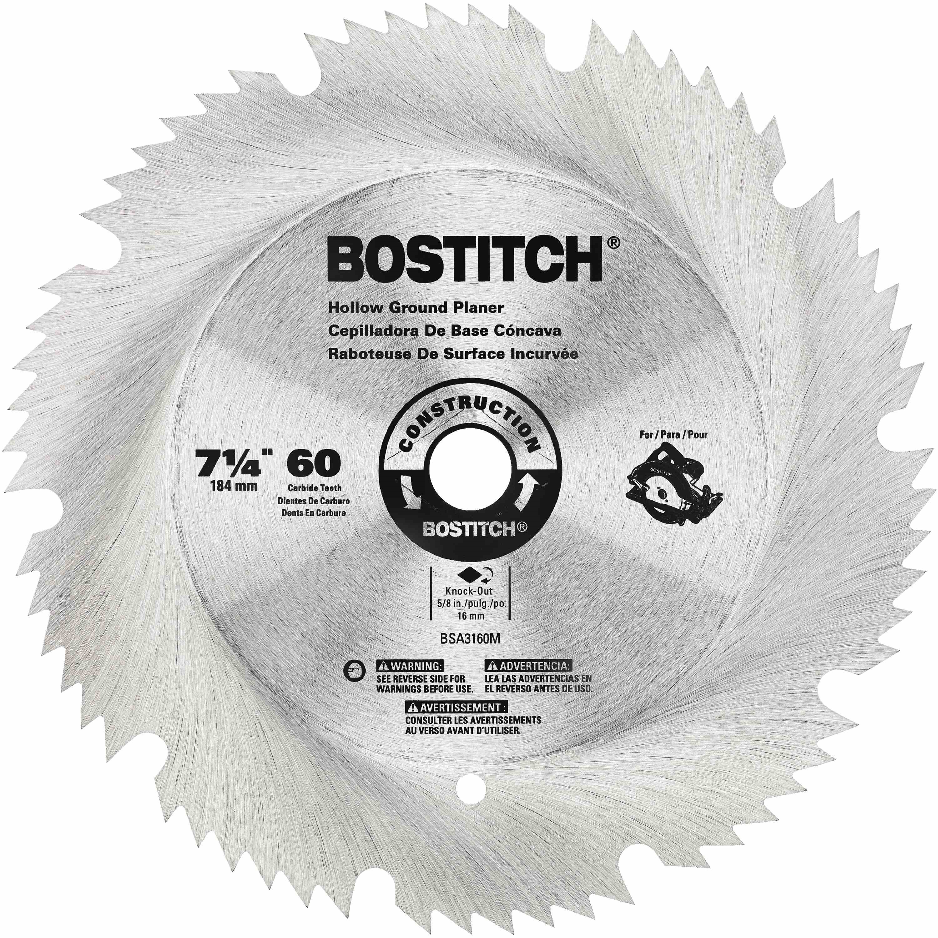 Bostitch - 7 14 60T Hollow Ground Planer Blade - BSA3160M