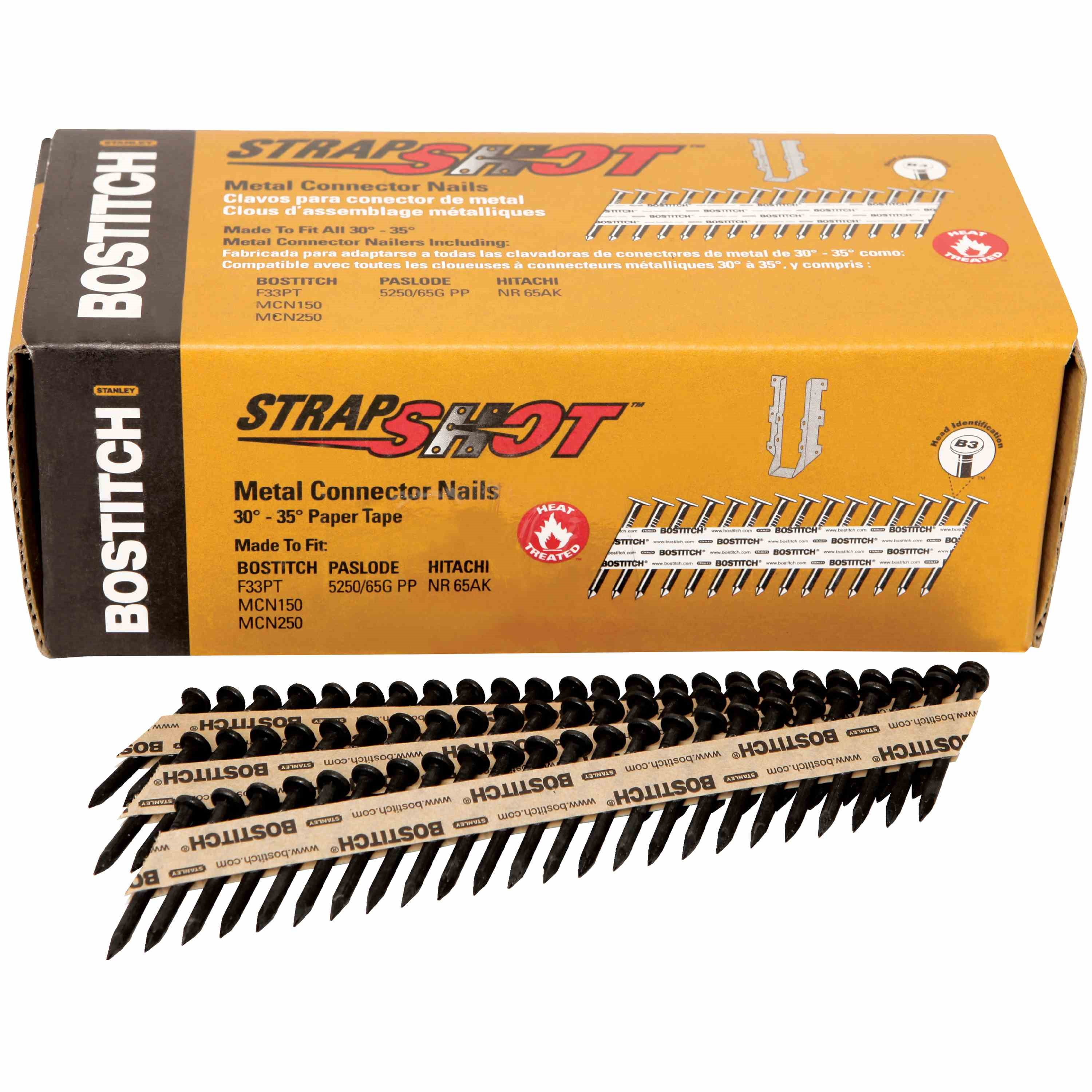 Bostitch - 1000Qty 112 x 131 35 STRAPSHOT Paper Collated Metal Connector Nails - PT-MC13115-1M